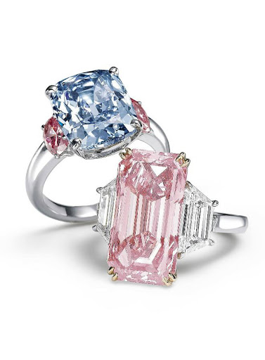Lab Grown Pink And Blue Diamond Rings